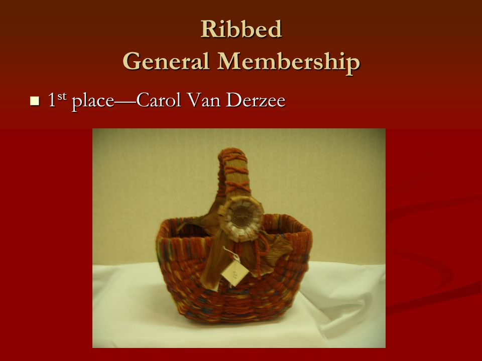Ribbed General Membership 1 st place—Carol Van Derzee 1 st place—Carol Van Derzee