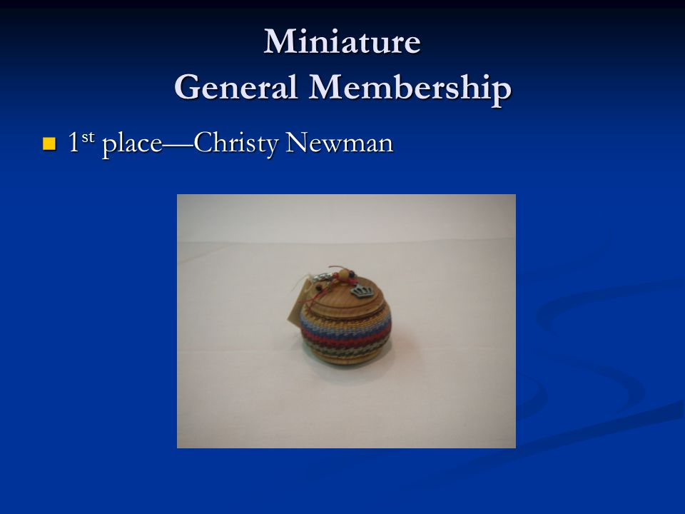 Miniature General Membership 1 st place—Christy Newman 1 st place—Christy Newman