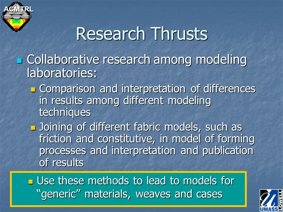 ACMTRL Research Thrusts Collaborative research among modeling laboratories: Collaborative research among modeling laboratories: Comparison and interpretation of differences in results among different modeling techniques Comparison and interpretation of differences in results among different modeling techniques Joining of different fabric models, such as friction and constitutive, in model of forming processes and interpretation and publication of results Joining of different fabric models, such as friction and constitutive, in model of forming processes and interpretation and publication of results Use these methods to lead to models for generic materials, weaves and cases Use these methods to lead to models for generic materials, weaves and cases