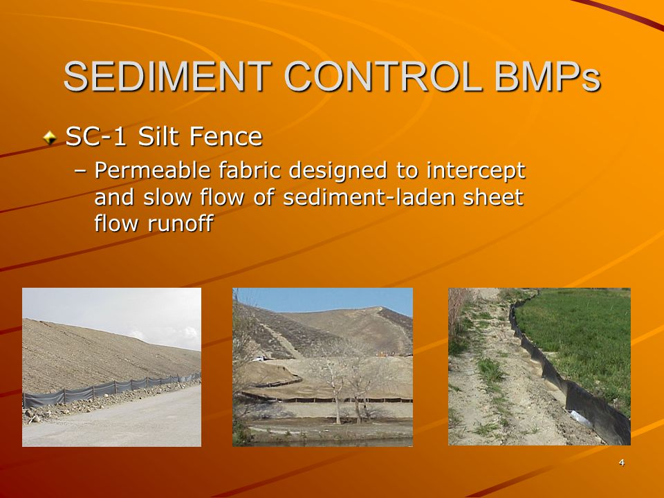 35 SEDIMENT CONTROL BMPs SC-10 Storm Drain Inlet Protection –Device used at storm drain inlets to detain of filter sediment-laden runoff