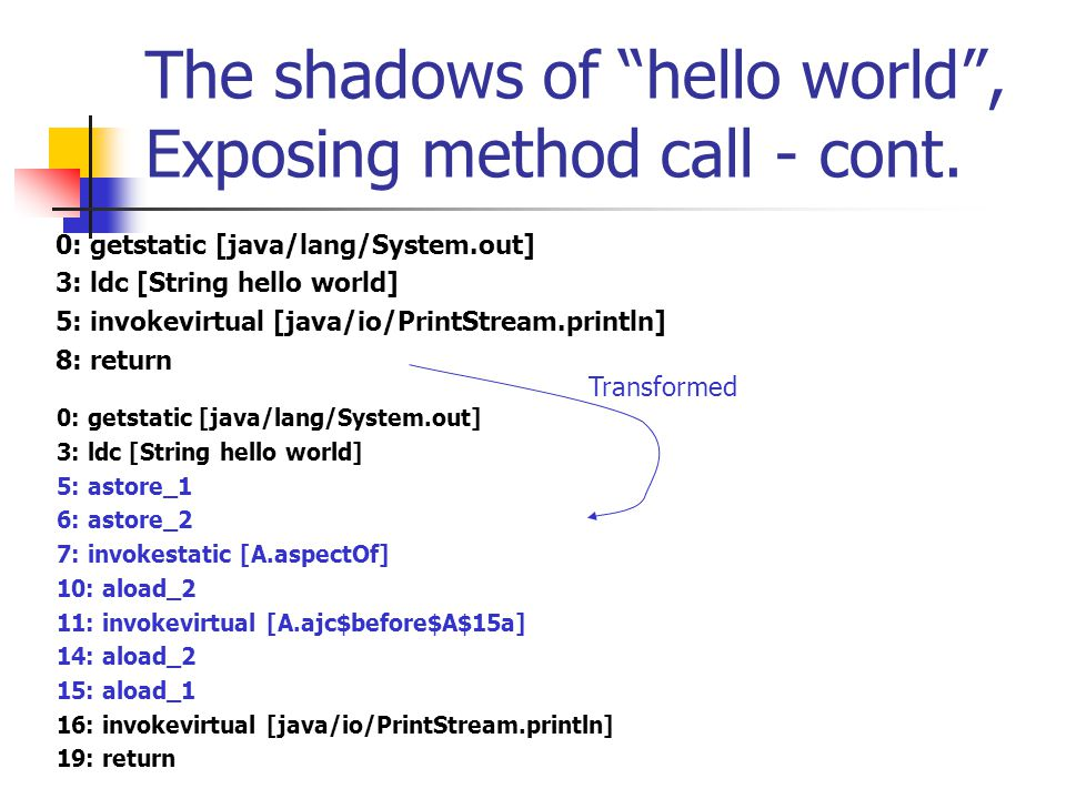 "The shadows of ""hello world"", Exposing method call - cont. 0: getstatic [java/lang/System.out] 3: ldc [String hello world] 5: invokevirtual [java/io/P"