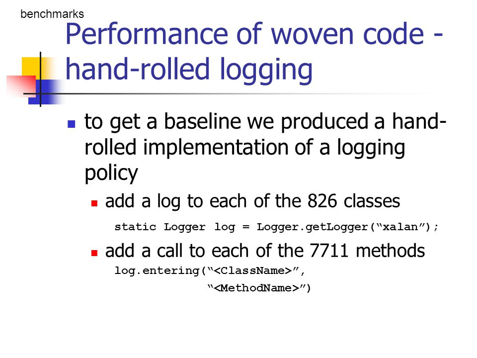 Performance of woven code - hand-rolled logging to get a baseline we produced a hand- rolled implementation of a logging policy add a log to each of t