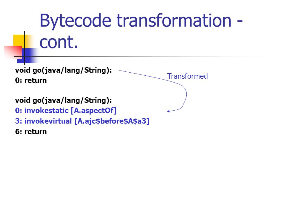 Bytecode transformation - cont. void go(java/lang/String): 0: return void go(java/lang/String): 0: invokestatic [A.aspectOf] 3: invokevirtual [A.ajc$b