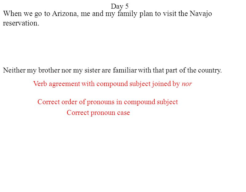 Day 5 Correct pronoun case Correct order of pronouns in compound subject Verb agreement with compound subject joined by nor When we go to Arizona, me and my family plan to visit the Navajo reservation.