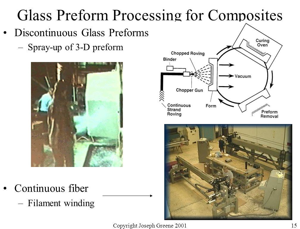 Copyright Joseph Greene 200115 Glass Preform Processing for Composites Discontinuous Glass Preforms –Spray-up of 3-D preform Continuous fiber –Filament winding