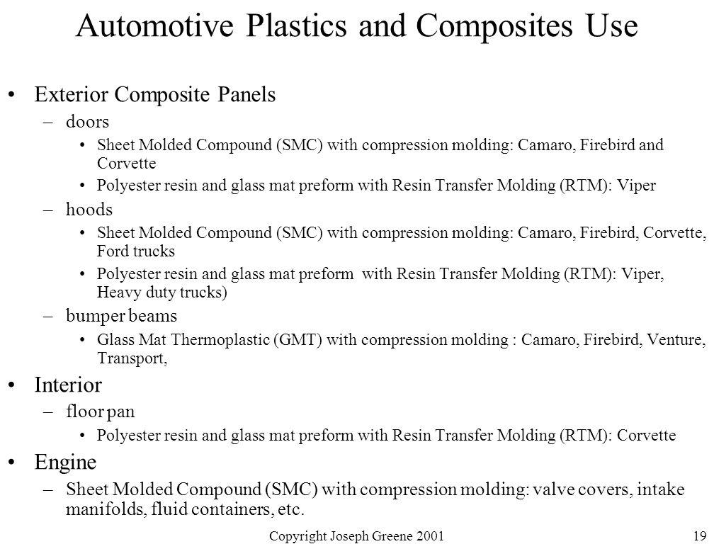 Copyright Joseph Greene 200119 Automotive Plastics and Composites Use Exterior Composite Panels –doors Sheet Molded Compound (SMC) with compression mo