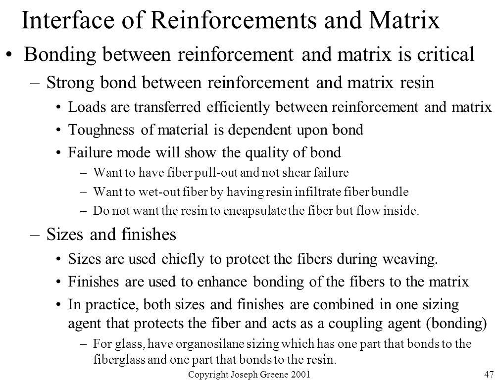 Copyright Joseph Greene 200147 Interface of Reinforcements and Matrix Bonding between reinforcement and matrix is critical –Strong bond between reinfo
