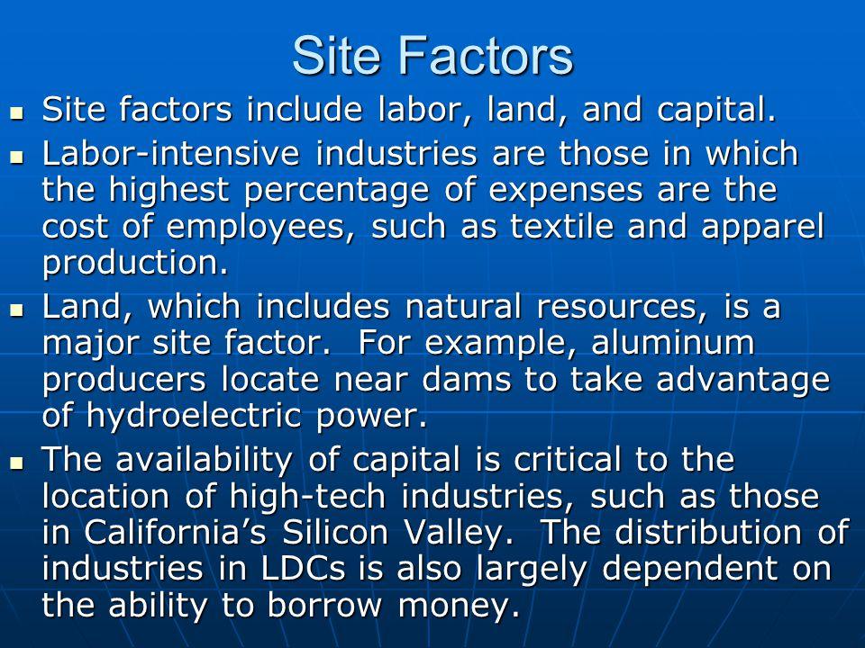 Site Factors Site factors include labor, land, and capital.