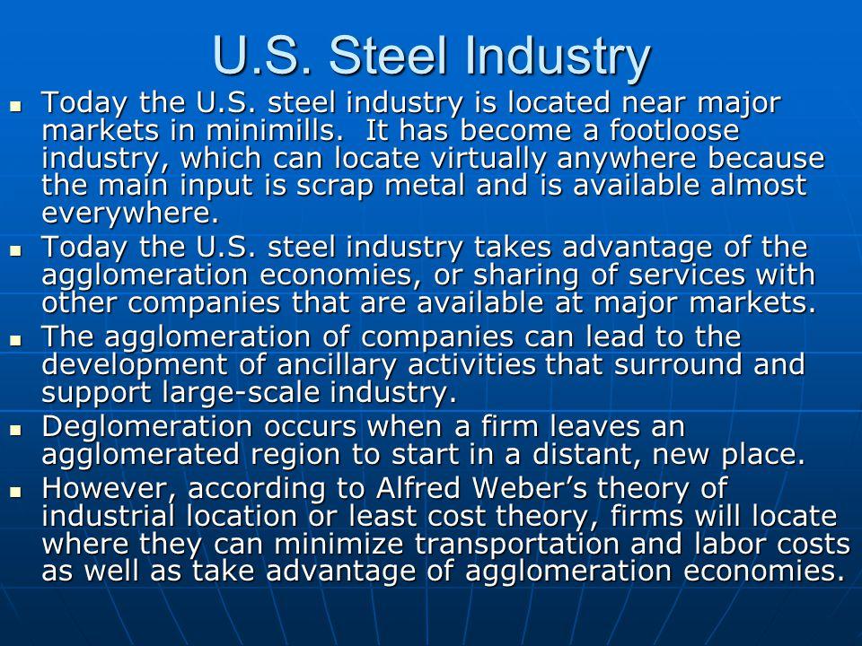 U.S.Steel Industry Today the U.S. steel industry is located near major markets in minimills.