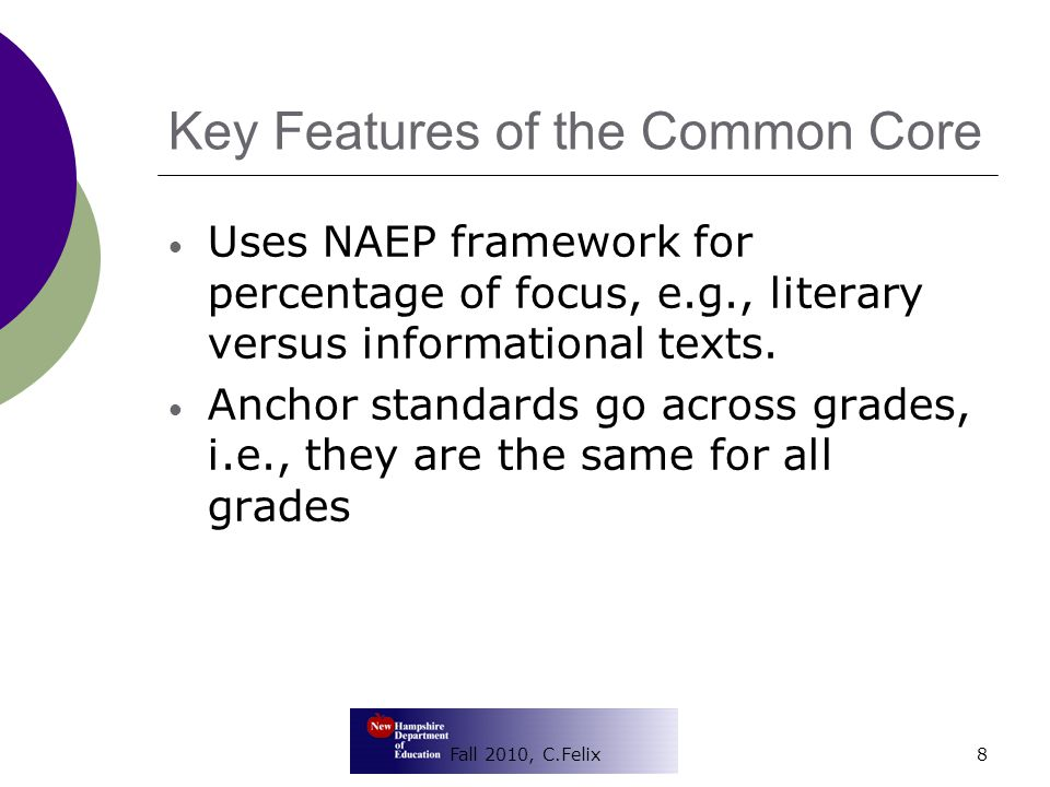 Key Differences  Strong emphasis on technology and media woven throughout literacy standards  Some grade differentials, especially at the lower grades  One standard may include both inference and literal understanding 9Fall 2010, C.Felix