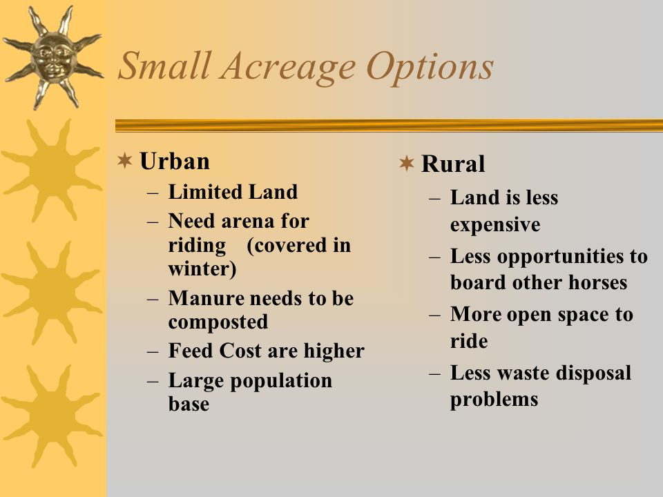 Small Acreage Options  Urban Opportunities-reducing cost –Purchase hay in summer when it is less expensive –Reduce the amount of grain fed to pleasure horses –Share your composted manure with neighbors for garden work