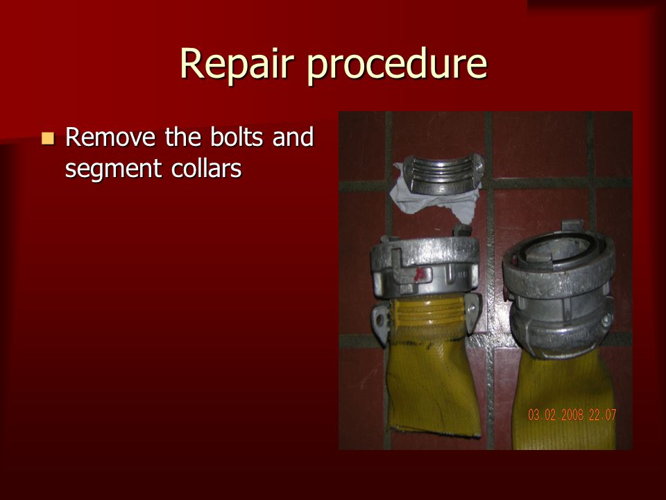 Repair procedure Remove the bolts and segment collars Remove the bolts and segment collars