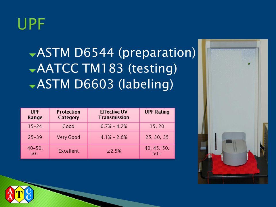  ASTM D6544 (preparation)  AATCC TM183 (testing)  ASTM D6603 (labeling)