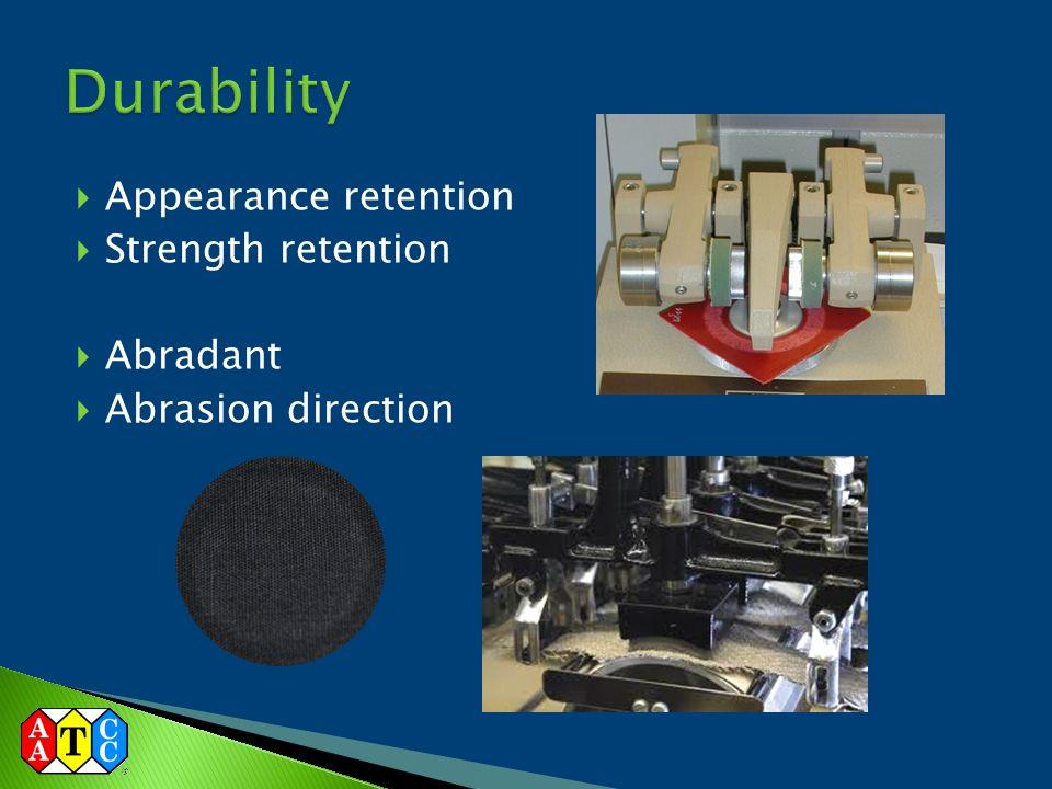  Appearance retention  Strength retention  Abradant  Abrasion direction