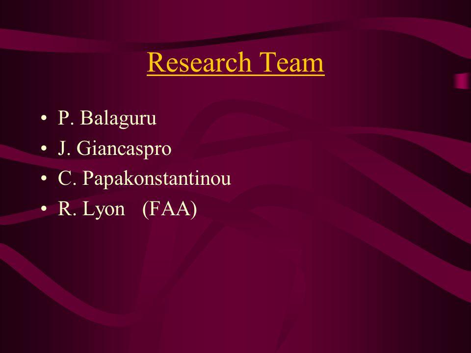 Research Team P. Balaguru J. Giancaspro C. Papakonstantinou R. Lyon (FAA)