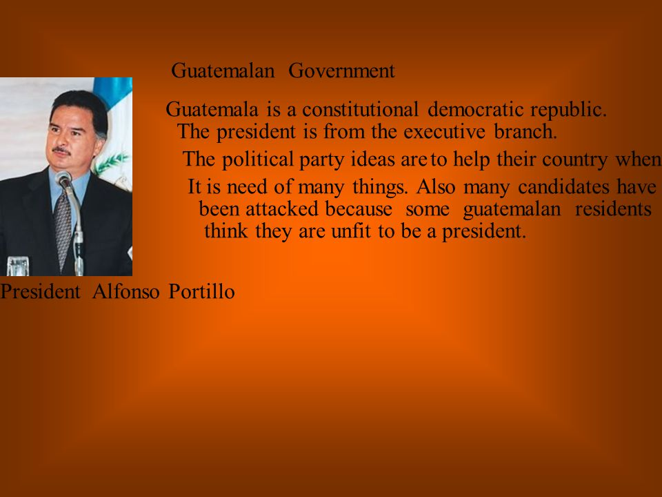 Guatemala achieved its independence on September 15, 1821 when a group of council notable men in Guatemala City declared it independent from Spain.In 1945, a lot of political parties began to form which was represented by one leader.