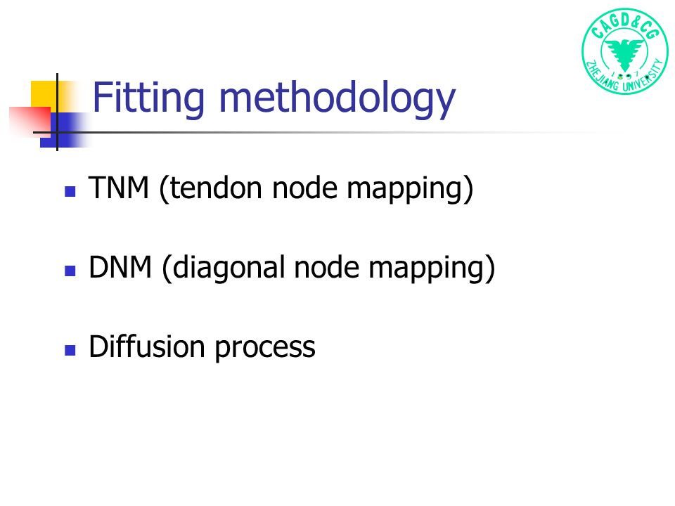 Fitting methodology TNM (tendon node mapping) DNM (diagonal node mapping) Diffusion process