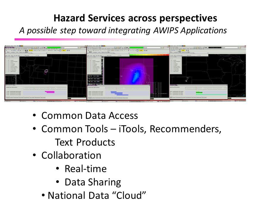 """Common Data Access Common Tools – iTools, Recommenders, Text Products Collaboration Real-time Data Sharing National Data """"Cloud"""" Hazard Services acros"""