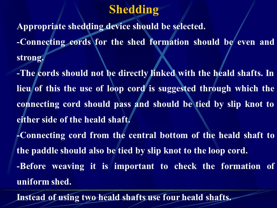Shedding Appropriate shedding device should be selected.