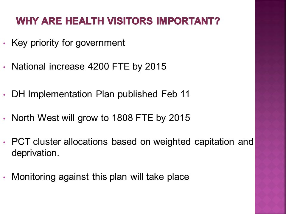 Key priority for government National increase 4200 FTE by 2015 DH Implementation Plan published Feb 11 North West will grow to 1808 FTE by 2015 PCT cluster allocations based on weighted capitation and deprivation.