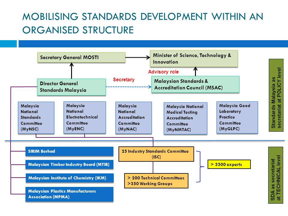 MOBILISING STANDARDS DEVELOPMENT WITHIN AN ORGANISED STRUCTURE Secretary General MOSTI Minister of Science, Technology & Innovation Malaysian Standard
