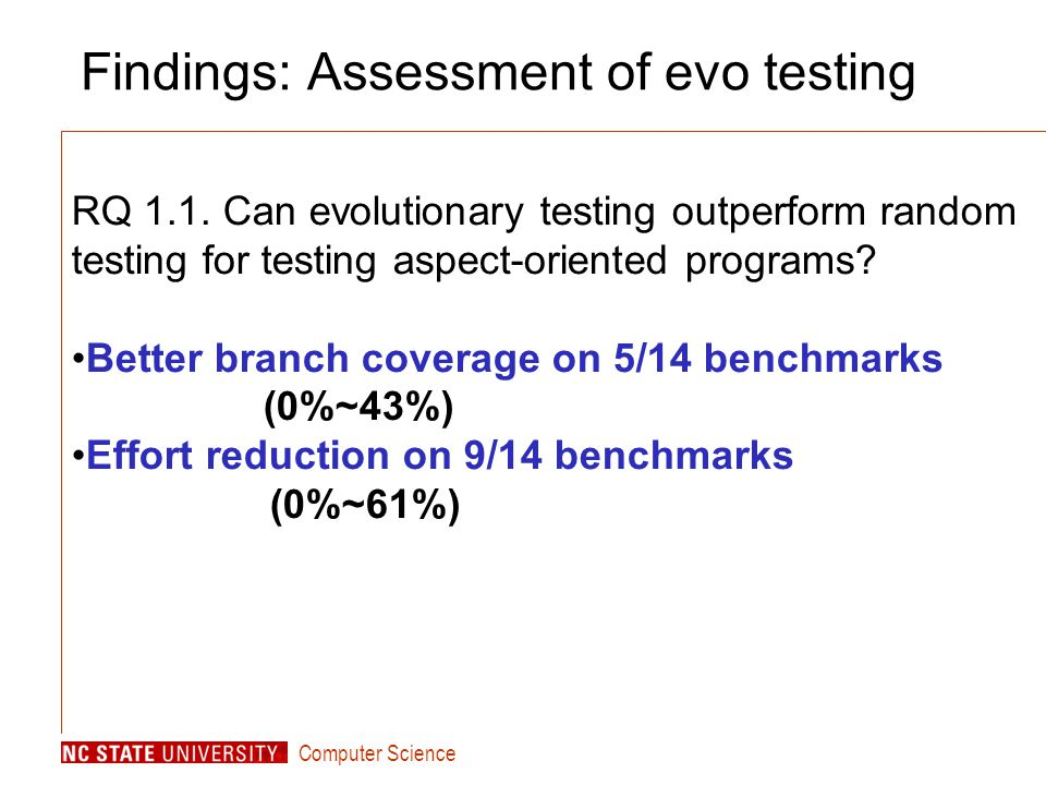 Computer Science Findings: Assessment of evo testing RQ 1.1.