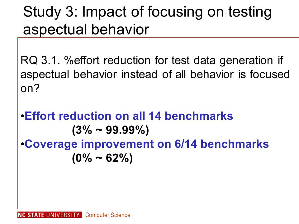 Computer Science Study 3: Impact of focusing on testing aspectual behavior RQ 3.1.
