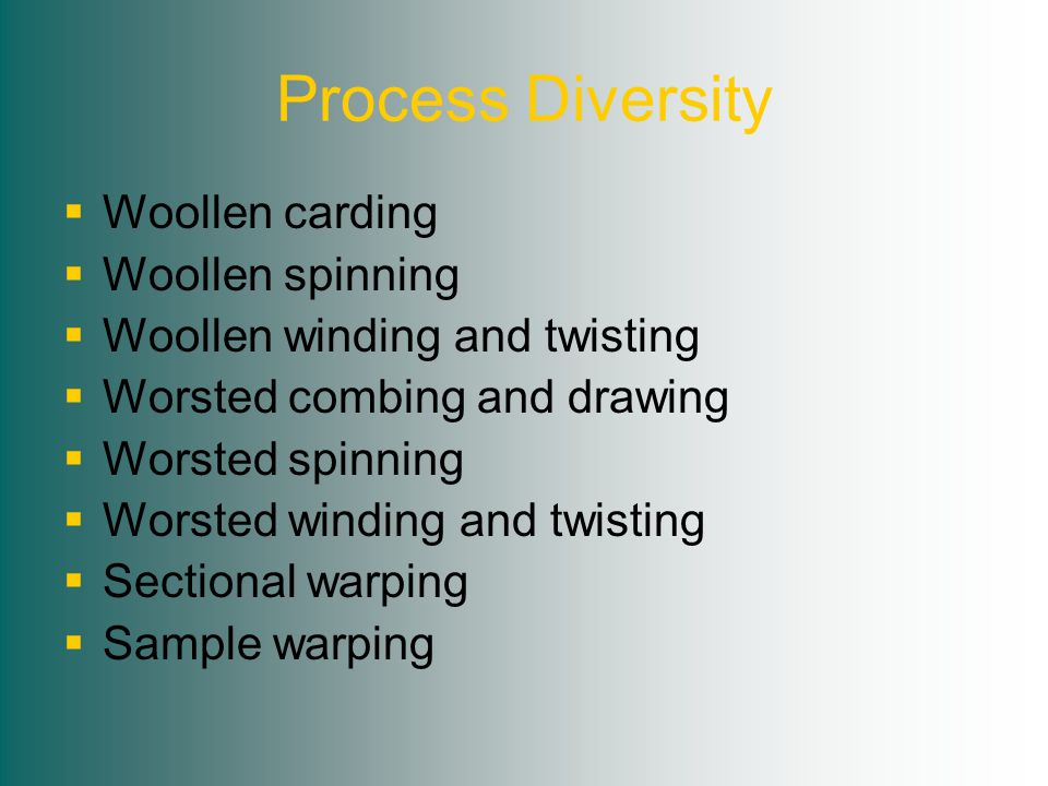 Process Diversity  Woollen carding  Woollen spinning  Woollen winding and twisting  Worsted combing and drawing  Worsted spinning  Worsted winding and twisting  Sectional warping  Sample warping
