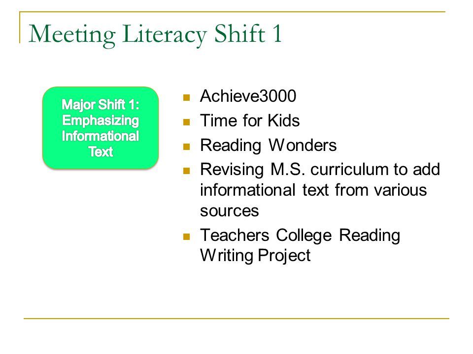 Meeting Literacy Shift 1 Achieve3000 Time for Kids Reading Wonders Revising M.S.