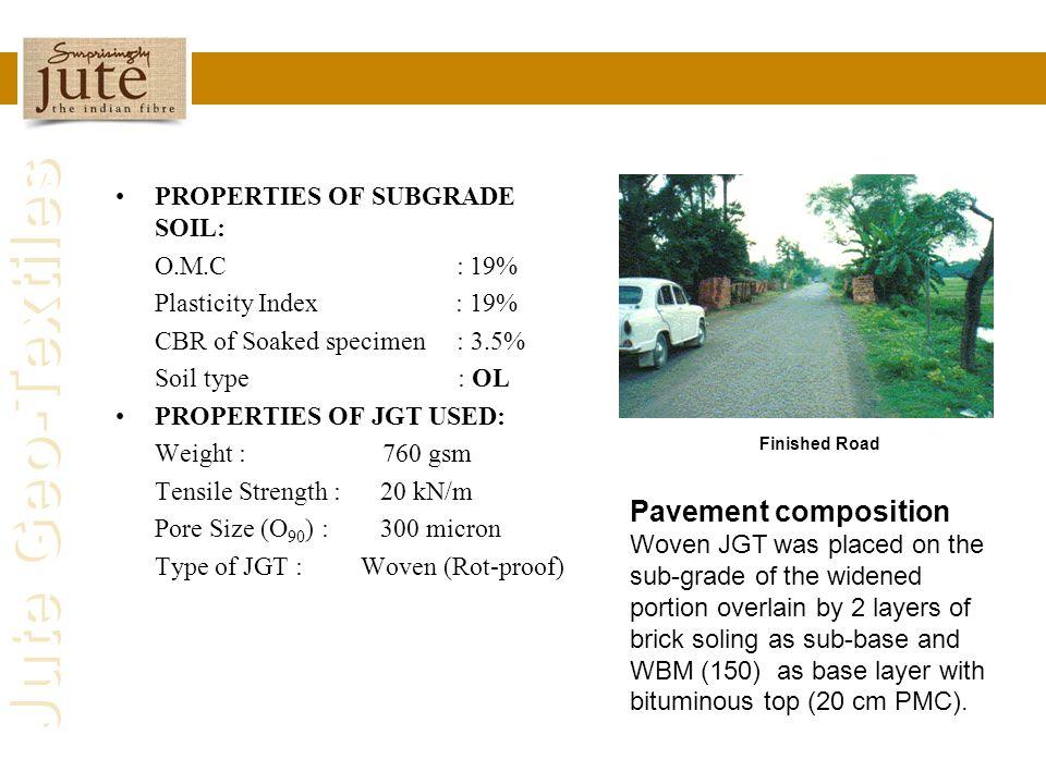 Jute Geo-Textiles PROPERTIES OF SUBGRADE SOIL: O.M.C : 19% Plasticity Index : 19% CBR of Soaked specimen : 3.5% Soil type : OL PROPERTIES OF JGT USED: