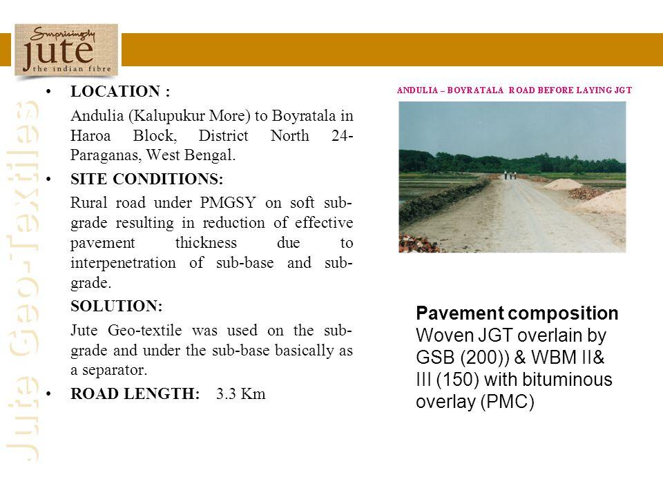 Jute Geo-Textiles LOCATION : Andulia (Kalupukur More) to Boyratala in Haroa Block, District North 24- Paraganas, West Bengal. SITE CONDITIONS: Rural r