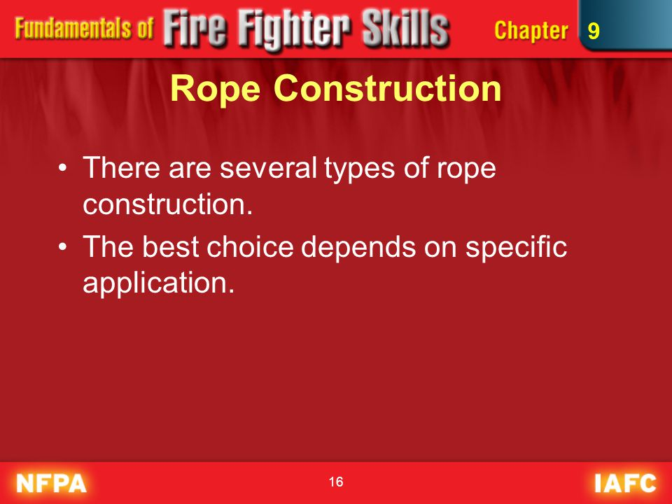 16 Rope Construction There are several types of rope construction.