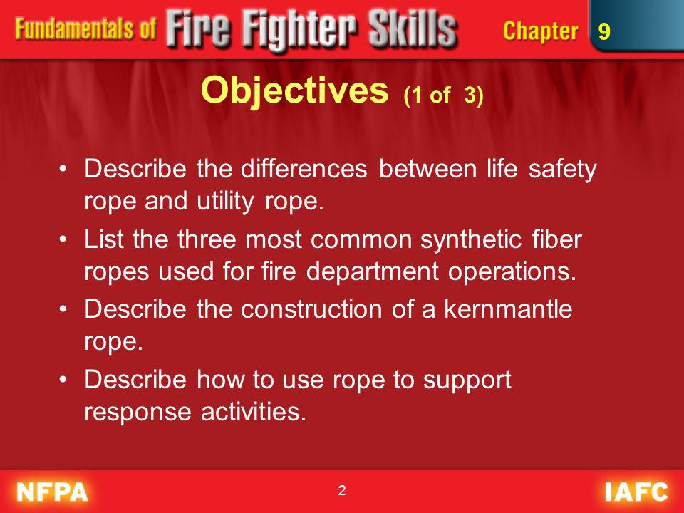 2 Objectives (1 of 3) Describe the differences between life safety rope and utility rope. List the three most common synthetic fiber ropes used for fi