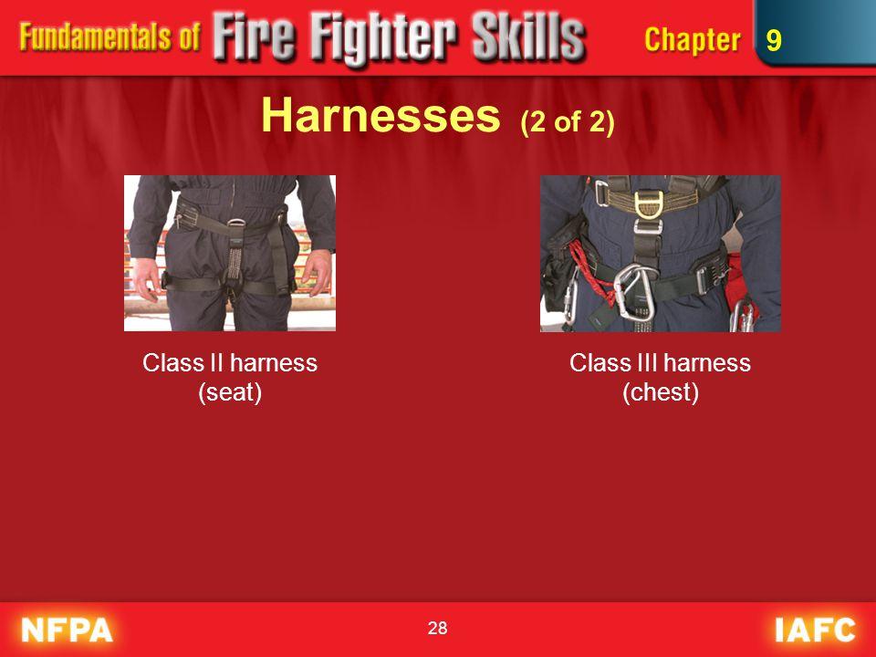 28 Harnesses (2 of 2) Class III harness (chest) Class II harness (seat) 9