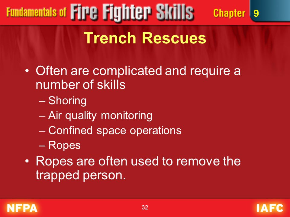 32 Trench Rescues Often are complicated and require a number of skills –Shoring –Air quality monitoring –Confined space operations –Ropes Ropes are often used to remove the trapped person.