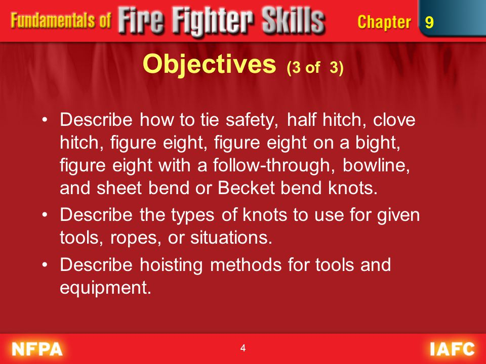 4 Objectives (3 of 3) Describe how to tie safety, half hitch, clove hitch, figure eight, figure eight on a bight, figure eight with a follow-through, bowline, and sheet bend or Becket bend knots.