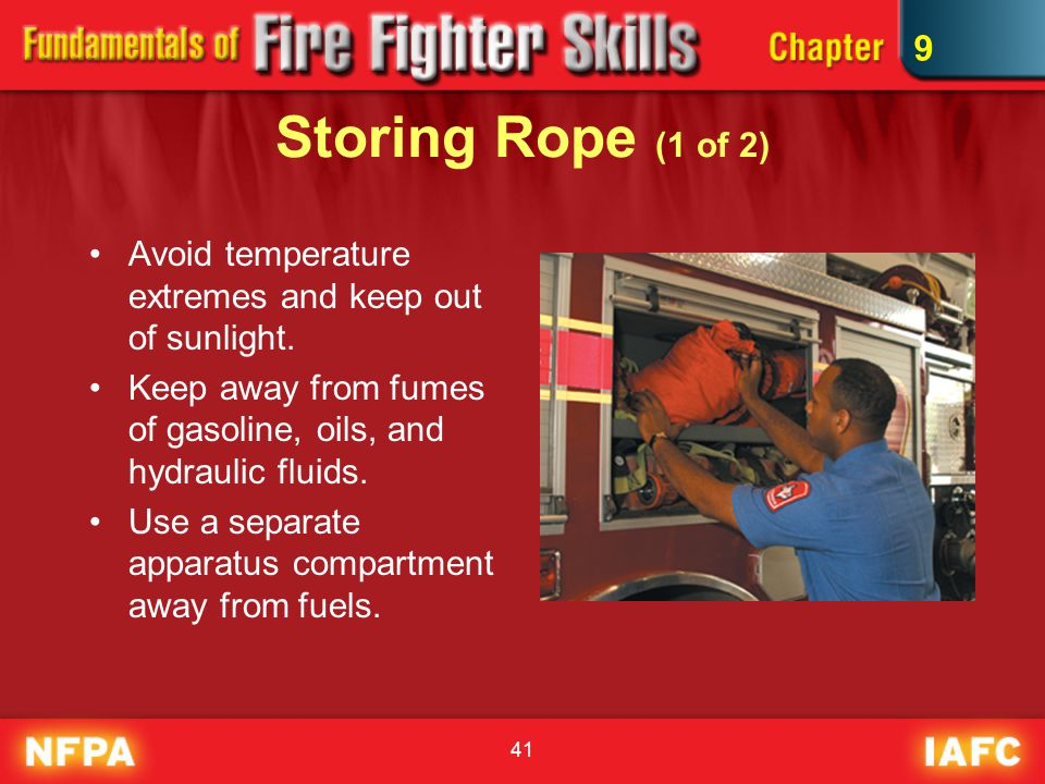 41 Storing Rope (1 of 2) Avoid temperature extremes and keep out of sunlight. Keep away from fumes of gasoline, oils, and hydraulic fluids. Use a sepa
