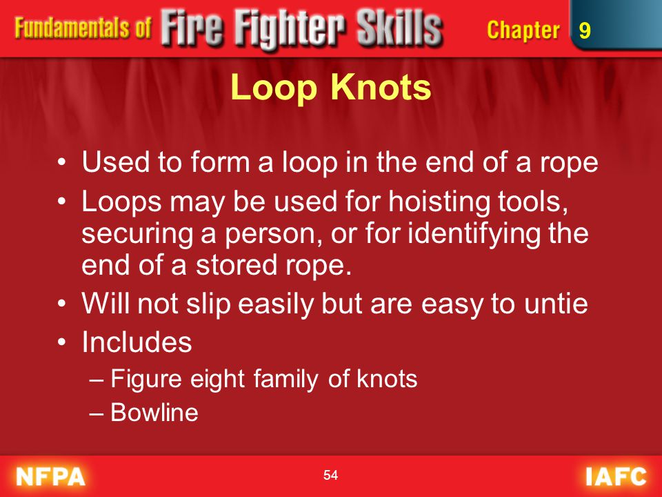 54 Loop Knots Used to form a loop in the end of a rope Loops may be used for hoisting tools, securing a person, or for identifying the end of a stored