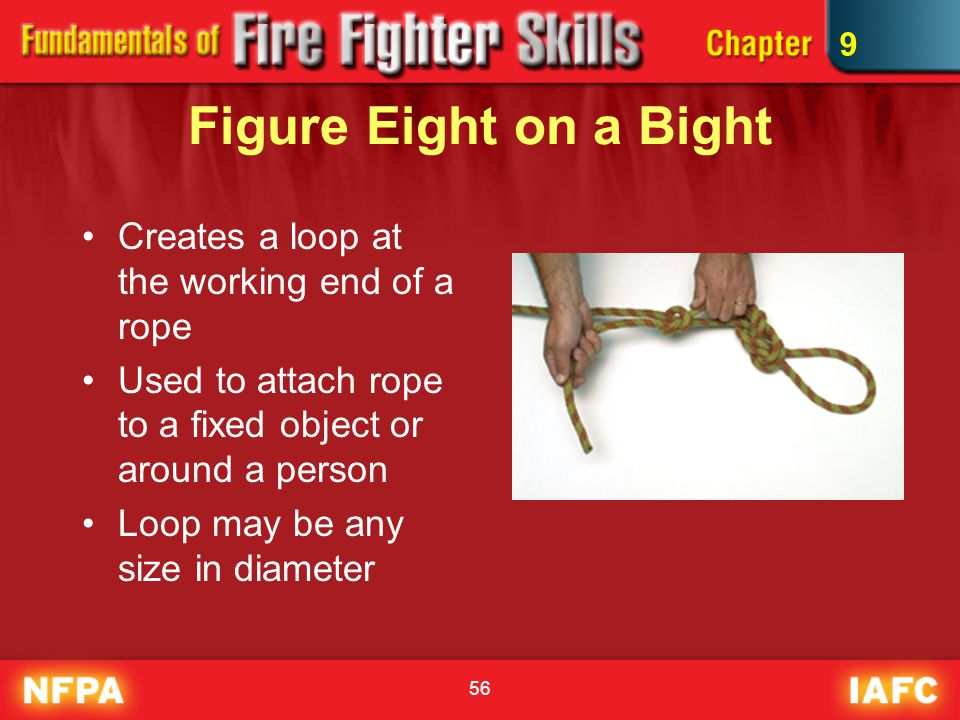 56 Figure Eight on a Bight Creates a loop at the working end of a rope Used to attach rope to a fixed object or around a person Loop may be any size in diameter 9
