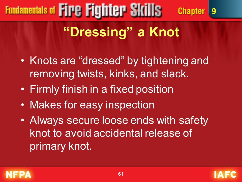 """61 """"Dressing"""" a Knot Knots are """"dressed"""" by tightening and removing twists, kinks, and slack. Firmly finish in a fixed position Makes for easy inspect"""
