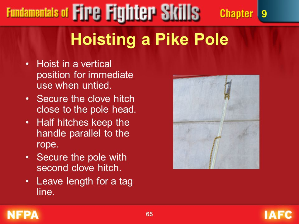 65 Hoisting a Pike Pole Hoist in a vertical position for immediate use when untied. Secure the clove hitch close to the pole head. Half hitches keep t