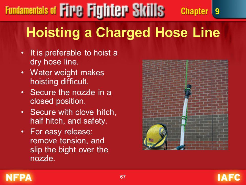 67 Hoisting a Charged Hose Line It is preferable to hoist a dry hose line.