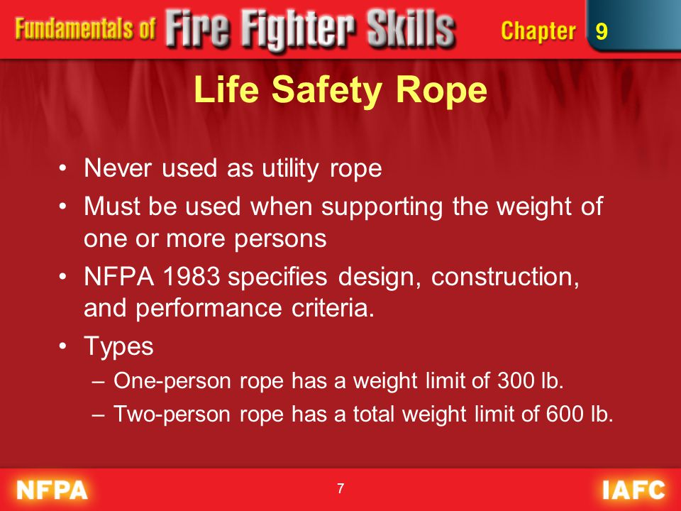 7 Life Safety Rope Never used as utility rope Must be used when supporting the weight of one or more persons NFPA 1983 specifies design, construction, and performance criteria.