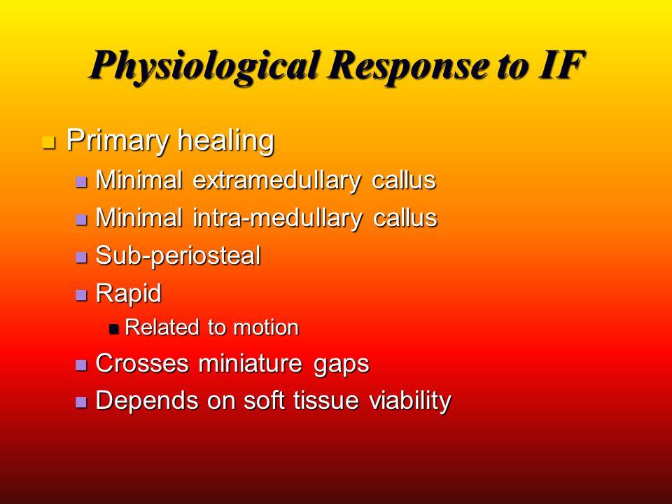 Physiological Response to IF Primary healing Primary healing Minimal extramedullary callus Minimal extramedullary callus Minimal intra-medullary callu