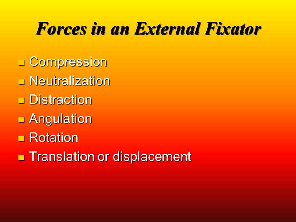 Forces in an External Fixator Compression Compression Neutralization Neutralization Distraction Distraction Angulation Angulation Rotation Rotation Tr