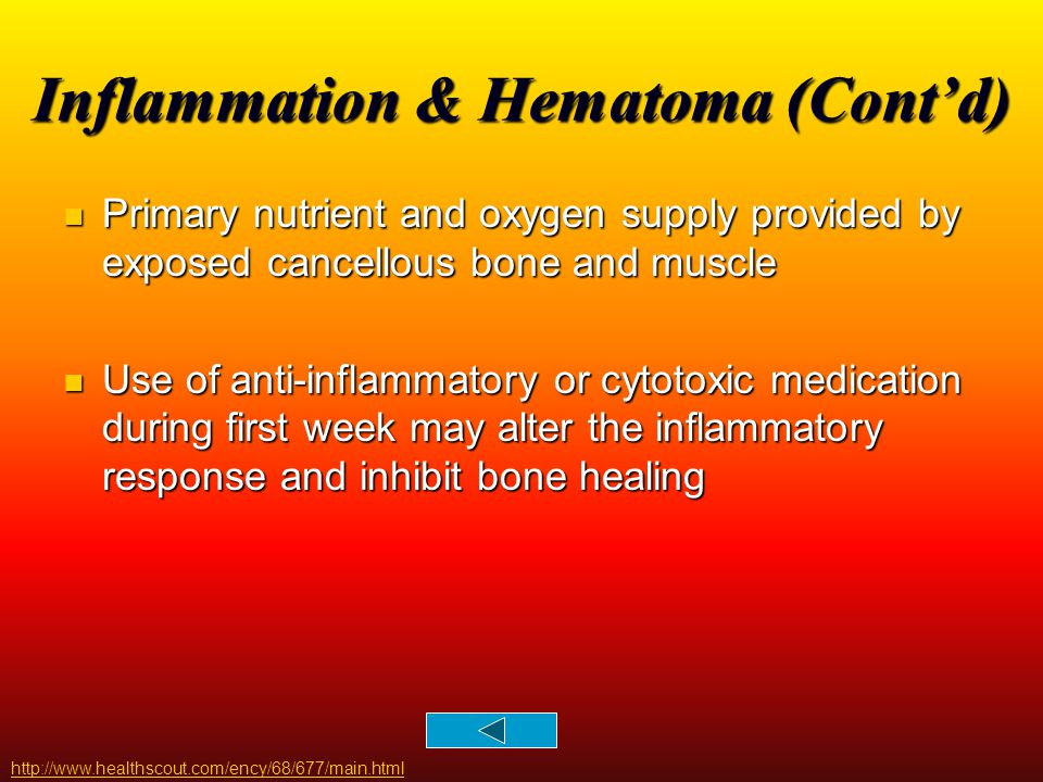 Inflammation & Hematoma (Cont'd) http://www.healthscout.com/ency/68/677/main.html Primary nutrient and oxygen supply provided by exposed cancellous bo