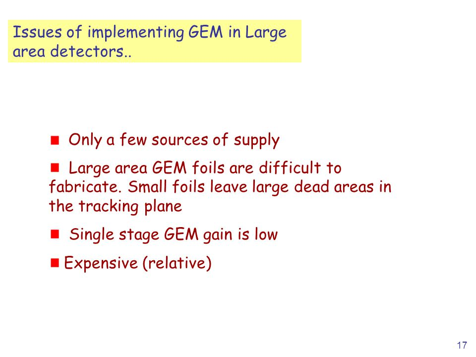 17 Issues of implementing GEM in Large area detectors..
