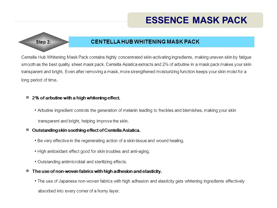 CENTELLA HUB WHITENING MASK PACK ESSENCE MASK PACK Step 3: Centella Hub Whitening Mask Pack contains highly concentrated skin-activating ingredients, making uneven skin by fatigue smooth as the best quality sheet mask pack.