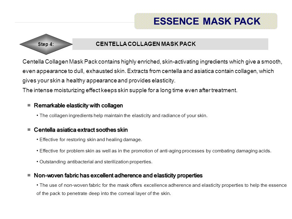 CENTELLA COLLAGEN MASK PACK ESSENCE MASK PACK Step 4: To Use ■ To Use Apply toner after cleansing.