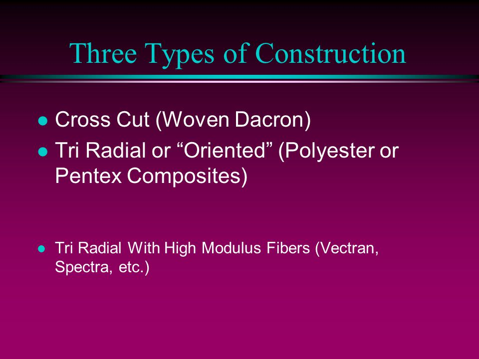Three Types of Construction l Cross Cut (Woven Dacron) l Tri Radial or Oriented (Polyester or Pentex Composites) l Tri Radial With High Modulus Fibers (Vectran, Spectra, etc.)